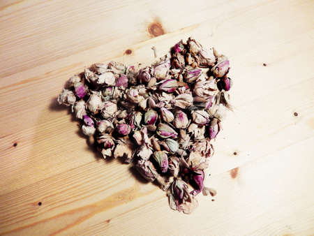 saint valentine   s day: a heart of Rosebuds Stock Photo