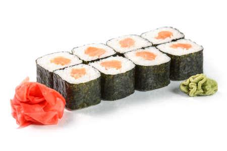 sake maki: Sushi rolls on white background. Sake maki roll