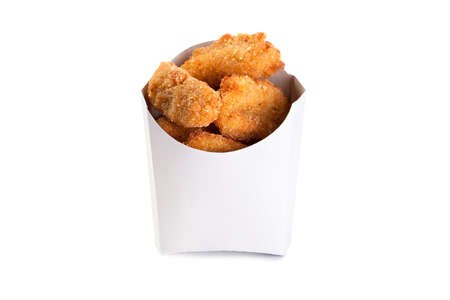 chicken nuggets: Fried chicken nuggets in a white box isolated on white background