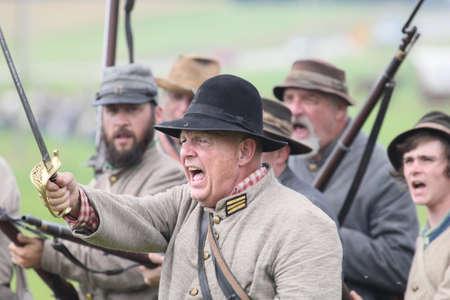gettysburg: Confederate reenactors preparing to charge at the 150th anniversary of the Battle of Gettysburg, June 28, 2013. Editorial