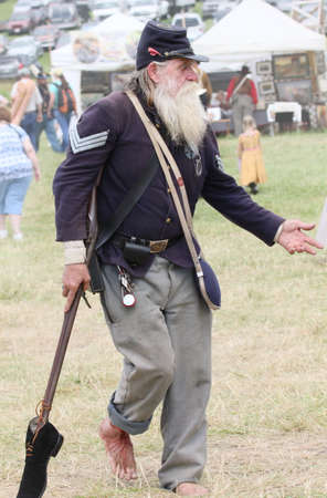 reenactor: Civil War reenactor portraying a wounded soldier at the 150th anniversary of the Battle of Gettysburg, June 28, 2013.