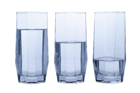 quater: Three glasses of clear water  Full, half and quater