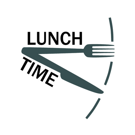 Texto de la hora del almuerzo con tenedor y cuchillo. Icono aislado