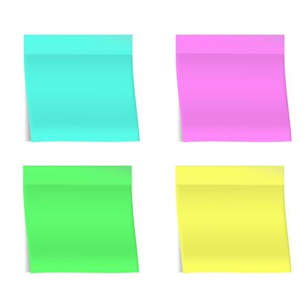 Cuatro pegatinas realistas brillantes sobre fondo blanco. Sombras realistas