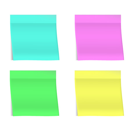 Four bright realistic stickers on white background. Realistic shadows