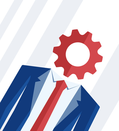 Office man with gear wheel instead of head. Blue suit with red tie