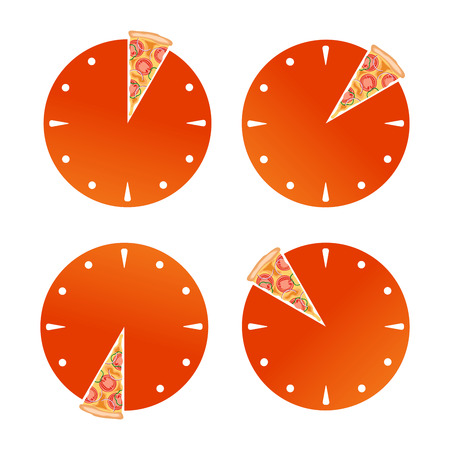Sliced clock. Lunch time. Pizza order