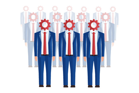 Order of office workers with gears instead head. Perspective. Isolated Illustration