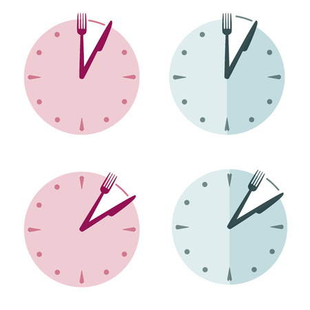 Clocks show lunch time. Knife and fork instead clock hands