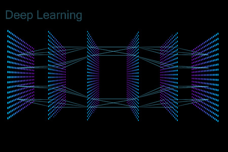 The model of deep learning neural network. Six layers model. Neon dots on black background Çizim