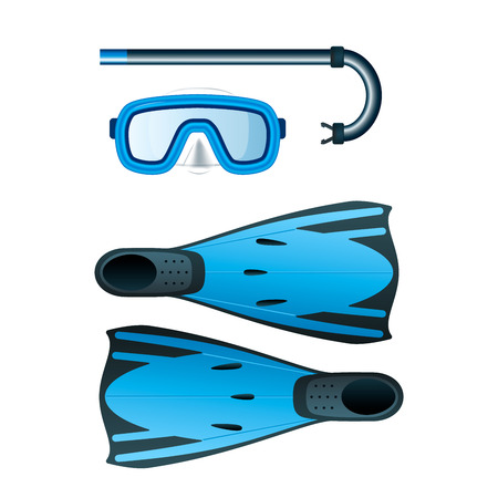 Diving blue colored kit with snorkel, mask and flippers. Vector illustration