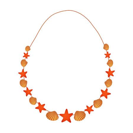 Handgemaakte ketting gemaakt van zeesterren en gouden schelpen. Stranddecoratie als cadeau of cadeau voor jong meisje of vrouw Vector Illustratie
