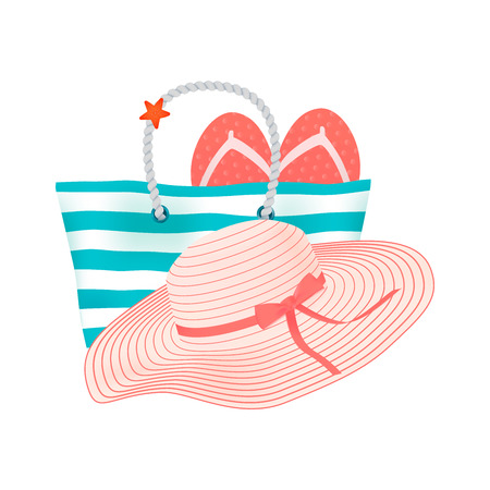 Beach accessories for relax on the shiny sea beach at summer vacation - stripped big beach bag, fashionable beach at with red bow and flip-flops. Vector illustration on white background