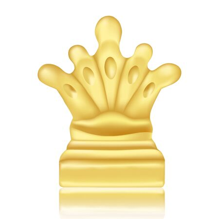 Golden prize or reward for victory on competitions for winner individual or team. Realistic crown standing on reflecting surface on white background. Vector Illustration Ilustrace