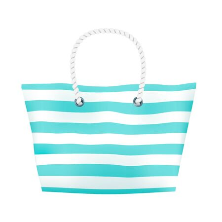 Stripped big beach bag with blue and white stripes and rope handle. Vector illustration on white background Stock Illustratie