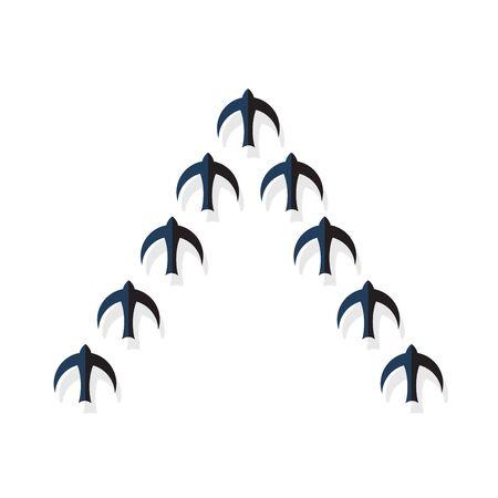 Stormo di uccelli neri che volano in un ordine rigoroso. Illustrazione vettoriale
