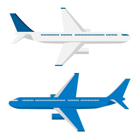 Two passenger airplanes with blue and white colors on white isolated background. Applicable for detailed icons, travel banners, web design, travel tour concepts for travel companies