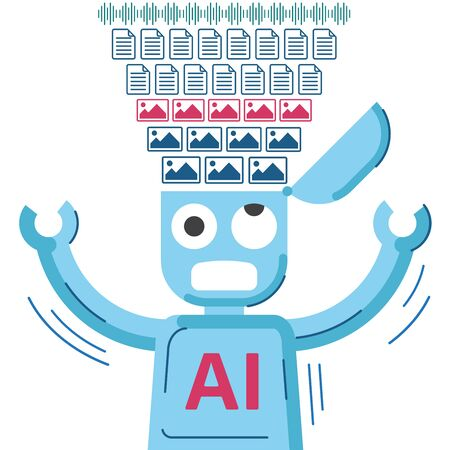 Funny illustration of machine learning process. AI robot gets flow of images, documents and voice samples in it's brain. Vector illustration.