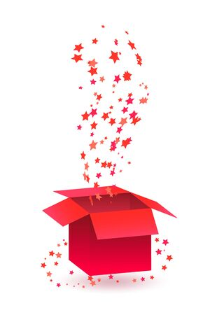 Red prize box with stars explosion that informs gamer that he won a game. Applicable for cards, banners of gambling games. Isolated vector illustration