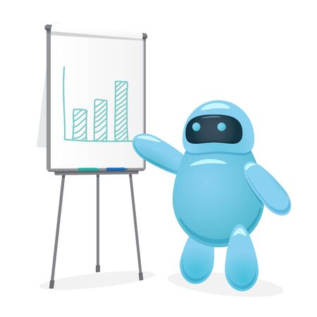 Cute cartoon robot drawing bar chart and makes a presentation how ai helped business to increase revenue. Stock market trading or business analytics presentation. Flat vector style illustration.