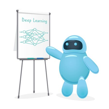Cute cartoon robot drawing neural network and makes a course or training about deep learning technology. Artificial intelligence or machine learning presentation. Flat vector style illustration. Illustration