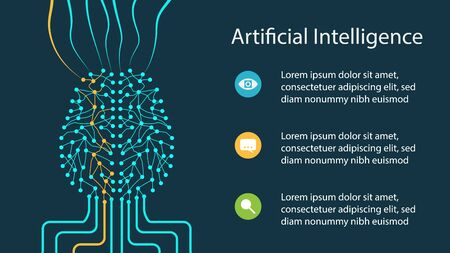 Artificial intelligence design concept with neural network like a human brain getting and handling information. Applicable for artificial intelligence presentations, banners. Vector illustration