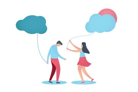Sad or unhappy man holding dark cloud. Young woman gives him light cloud, demonstrate care, love and support. Vector illustration