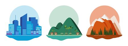 Travel concept - blue city, green beach and red mountains. Applicable as background or icons for travel design. Three detailed icons. Vector illustration.  イラスト・ベクター素材
