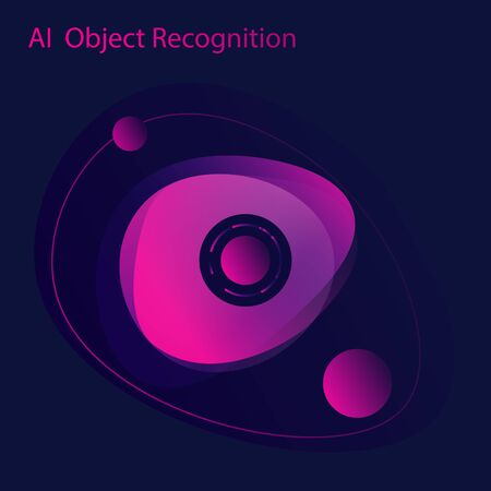 Artificial intelligence cyber security or object recognition design concept. Eye as a artificial intelligence guardian or part of ai protection system. Vector illustration Illustration