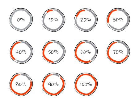 Set of infographics or dashboard elements in hand drawn style. Applicable for presentation, performance, financial reports. Vector illustration. Vektoros illusztráció