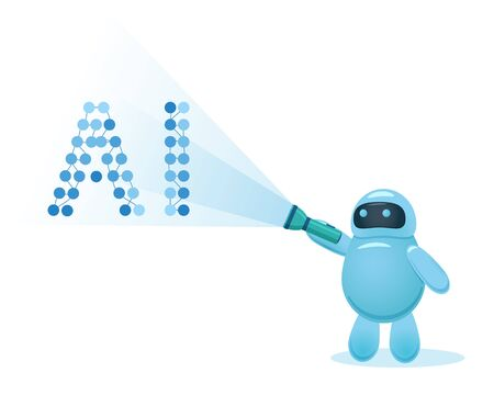 Cute cartoon robot holding a flashlight and showing at AI letters. Artificial intelligence, deep learning, machine learning concept. Colored flat vector illustration. Ilustração