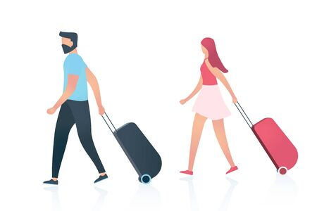 Travel concept. Couple, young man and woman, in airport terminal with luggage moving to the airplane or train.