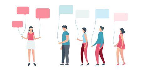 Los seguidores, hombres y mujeres jóvenes, piden sugerencias o preguntas al influencer. Las personas se comunican con globos de burbujas de discurso. Concepto de diseño de redes sociales o redes sociales. Ilustración vectorial Ilustración de vector
