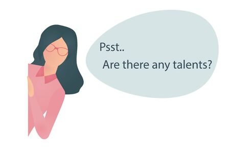 Dark haired human resources manager or recruiter searching for talents, new employers. Woman with glasses looking out the wall and speaking. Illustration of hiring recruiter. Vector illustration