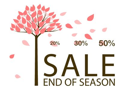 Sale flyer template. The wind blows and rips leaves from the tree. Applicable as poster, flyer, card, label, background, banner. Special seasonal offer. Discount in autumn, fall. Vector illustration Illustration