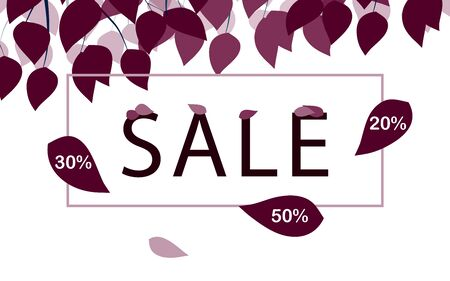 Sale flyer template. Leaves are falling from bush branches. Applicable as poster, flyer, card, label, background, banner. Special seasonal offer. Discount in autumn, fall. Vector illustration