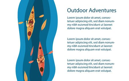 Outdoors activities background or banner. Kayak among leaves in the river. Outdoor, rafting, kayaking tour, adventures advertisement. Vector illustration