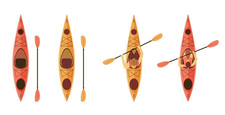 Set of kayaks for outdoors activities, fishing. Empty kayaks and with man and woman sitting inside with paddle. Vector illustration Çizim