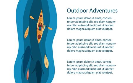 Outdoors activities background or banner. Kayak among leaves and big fishes in the river. Outdoor, rafting, kayaking tour, adventures advertisement. Vector illustration