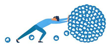 Blogger pushes bunch of influencer likes. Influencer hard work in social media or social networks. Work like sisyphus. Flat vector illustration in blue color.
