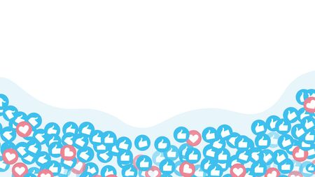 Social media or social network background. Waves of multiple likes of many followers or subscribers. Isolated background. Vector illustration