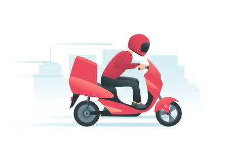 Courier on the red motorbike with city background. Delivery service concept. Man delivers fast-food or pizza to the customer. Vector illustration