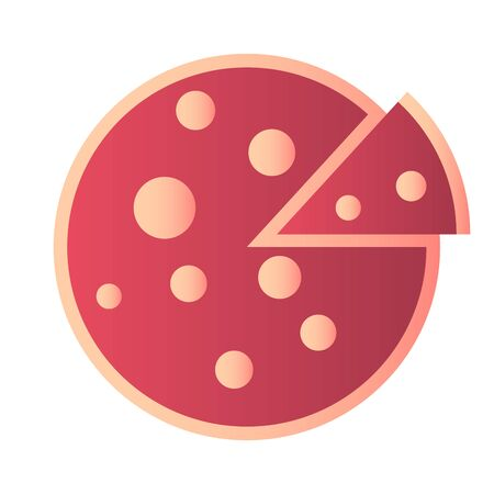 Flat pizza icon isolated on the white background. Red pizza with slice. Food menu illustration isolated. Vector design element