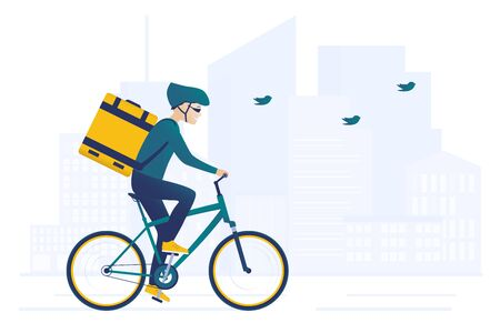 Food bicycle delivery courier. Man carries parcel box on the back. Fast and ecological way to move around the city. Express food delivery service by bike. Downtown silhouette on the background
