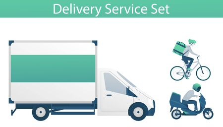 Set of vehicles for fast express delivery service - lorry, scooter and bicycle. Applicable as elements for web design or delivery service banner, card. Flat vector illustration with gradient fill. Ilustracja