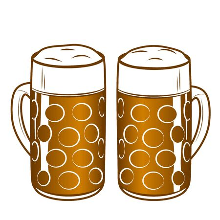 Two beer mugs with ale. Applicable as elements for Oktoberfest concept or pub menu. Outline vector illustration