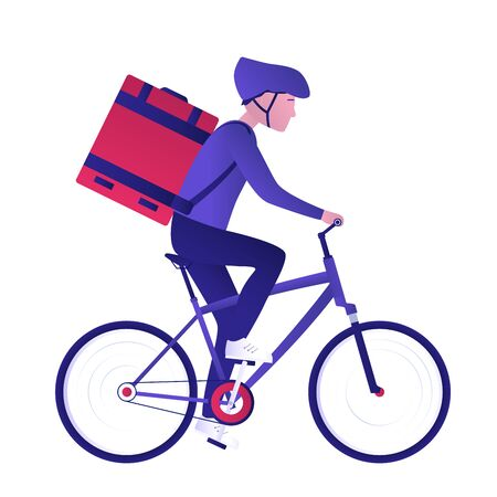 Food bicycle delivery courier. Man carries parcel box on the back. Fast and ecological way to move around the city. Express food delivery service by bike. Isolated vector illustration