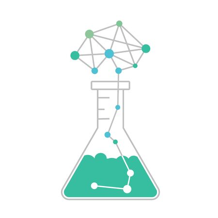 Data science or machine learning research as chemical experiment. Explosion as neural network brain above the flask. AI or deep learning concept. Vector illustration.