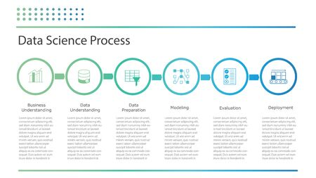 Ciencia de datos o proceso de minería de datos. Tabla de infografías planas que demuestran el proceso de ciencia de datos. Presentación de inteligencia artificial, aprendizaje automático o ciencia de datos. Ilustración vectorial