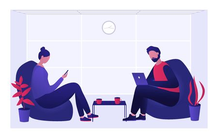 Two colleagues young man and woman sitting on the bags in the coworking space. Office worker with laptop and young girl looking at phone. Teamwork and collaboration vector illustration. Ilustração